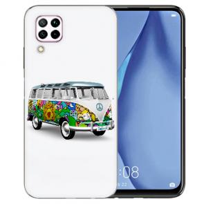 Huawei P40 Lite Silikon TPU Schutzhülle mit Bilddruck Hippie Bus Etui