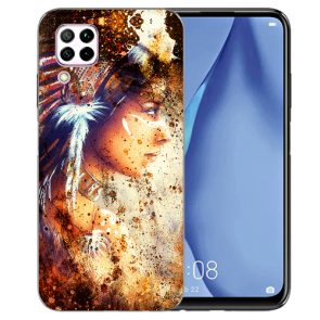 Huawei P40 Lite Silikon TPU Schutzhülle mit Bilddruck Indianerin Porträt