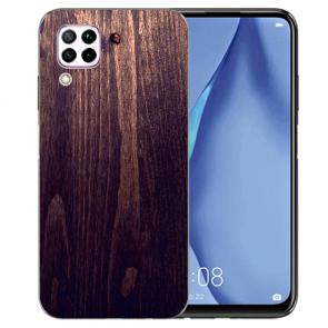 Silikon TPU Hülle mit HolzOptik Dunkelbraun Bilddruck für Huawei P40 Lite
