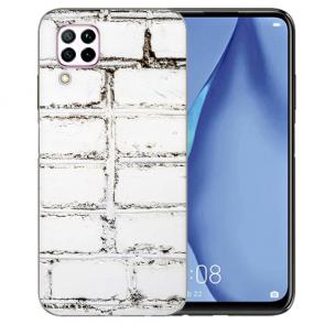 Silikon TPU Hülle mit Weiße Mauer Bilddruck für Huawei P40 Lite Etui