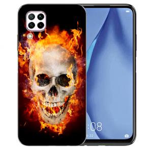 Huawei P40 Lite Silikon TPU Schutzhülle mit Bilddruck Totenschädel Feuer