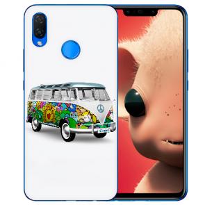 Huawei P Smart Plus Silikon TPU Handyhülle mit Hippie Bus Fotodruck