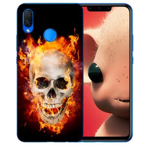 Silikon TPU Hülle mit Totenschädel Feuer Fotodruck Huawei P Smart Plus