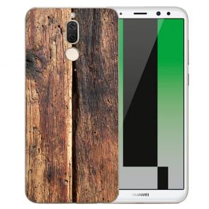 Huawei Mate 10 Lite Silikon TPU Hülle mit Bilddruck HolzOptik Etui