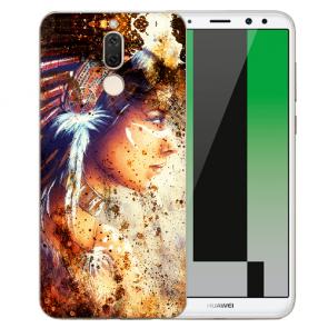 Huawei Mate 10 Lite Silikon TPU Hülle mit Bilddruck Indianerin Porträt