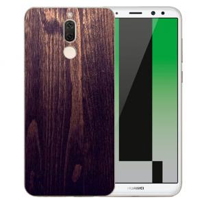 Huawei Mate 10 Lite Silikon TPU mit Bilddruck HolzOptik Dunkelbraun