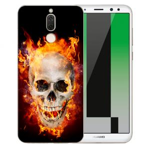 Huawei Mate 10 Lite Silikon TPU Hülle mit Bilddruck Totenschädel Feuer