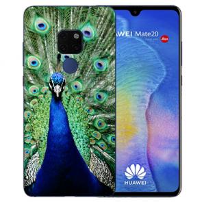Huawei Mate 20 Silikon TPU Case Schutzhülle mit Bilddruck Pfau Cover