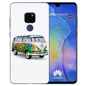 Huawei Mate 20 Silikon TPU Hülle mit Bilddruck Hippie Bus Etui