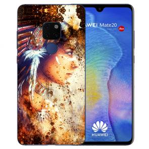 Huawei Mate 20 Silikon TPU Hülle mit Bilddruck Indianerin Porträt