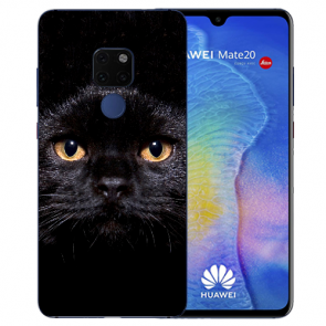 Huawei Mate 20 Silikon TPU Case Schutzhülle mit Bilddruck Schwarz Katze
