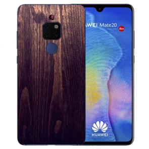 Huawei Mate 20 Silikon TPU Hülle mit Bilddruck HolzOptik Dunkelbraun
