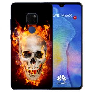 Huawei Mate 20 Silikon TPU Hülle mit Bilddruck Totenschädel Feuer
