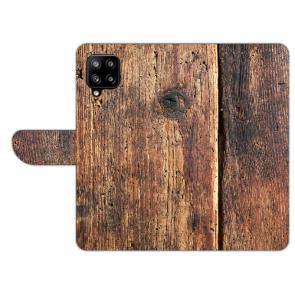 Schutzhülle Handy Tasche für Samsung Galaxy A42 mit Bilddruck HolzOptik