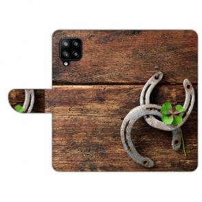 Handy Hülle für Samsung Galaxy A42 mit Bilddruck Holz hufeisen Etui