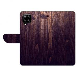 Handy Tasche für Samsung Galaxy A42 mit Bilddruck HolzOptik Dunkelbraun