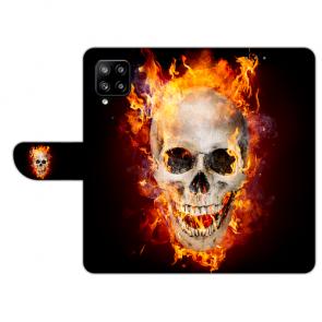 Samsung Galaxy A42 Handy Hülle Tasche mit Bilddruck Totenschädel Feuer