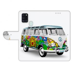 Handy Hülle mit Foto Namen Druck Hippie Bus für Samsung Galaxy A21s