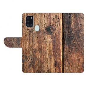 Schutzhülle Handy Hülle mit Bild Druck HolzOptik für Samsung Galaxy A21s