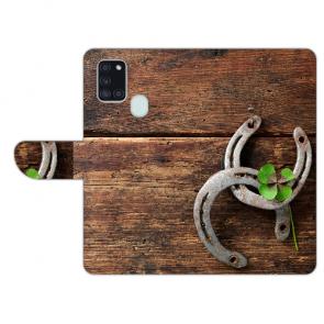 Samsung Galaxy A21s Handy Hülle mit Holz hufeisen Fotodruck Etui