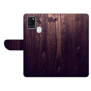 Samsung Galaxy A21s Handy Hülle mit Bild Druck HolzOptik Dunkelbraun