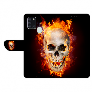 Handy Hülle mit Totenschädel Feuer Fotodruck für Samsung Galaxy A21s