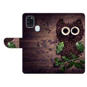 Handy Hülle mit Kaffee Eule Fotodruck für Samsung Galaxy A21s Etui