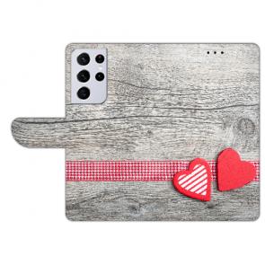 Samsung Galaxy S21 Ultra Handy Hülle mit Bilddruck Herzen auf Holz