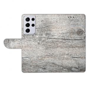 Samsung Galaxy S21 Ultra Handy Hülle mit HolzOptik Grau Fotodruck