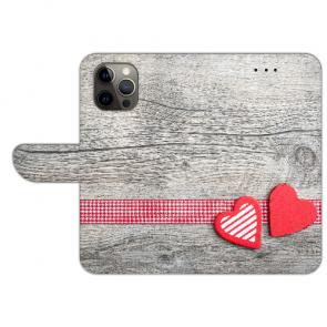iPhone 12 Pro Max Handyhülle Tasche mit Bilddruck Herzen auf Holz