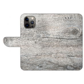 iPhone 12 Pro Max Handyhülle Tasche mit Bilddruck HolzOptik Grau