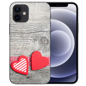 iPhone 12 mini Handy Schutzhülle Tasche mit Fotodruck Herzen auf Holz