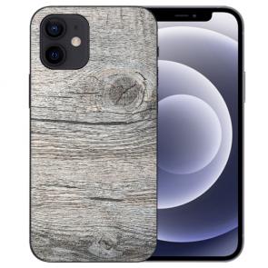 iPhone 12 mini Handy Schutzhülle Tasche mit Fotodruck HolzOptik Grau