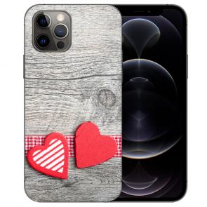 iPhone 12 Pro Max Handy Hülle Tasche mit Bilddruck Herzen auf Holz
