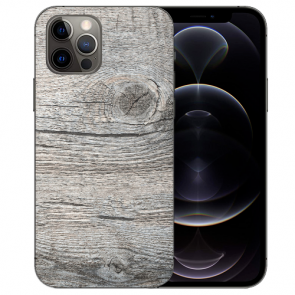 Handy Hülle Tasche mit Bilddruck HolzOptik Grau für iPhone 12 Pro