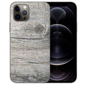 iPhone 12 Pro Max Handy Hülle Tasche mit Bilddruck HolzOptik Grau