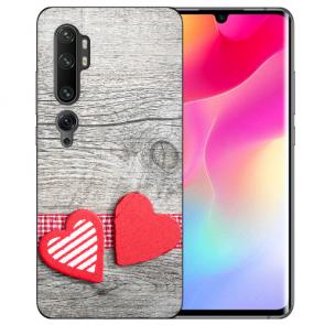 Xiaomi Mi CC9 Pro Silikon TPU Hülle mit Fotodruck Herzen auf Holz