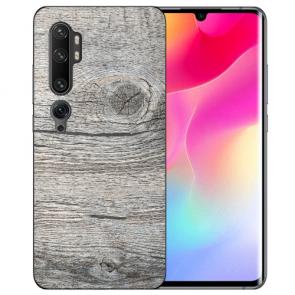 Xiaomi Mi CC9 Pro Silikon TPU Hülle mit Fotodruck HolzOptik Grau