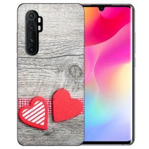 Xiaomi Mi Note 10 Lite Silikon TPU Hülle mit Bilddruck Herzen auf Holz