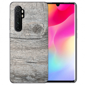 Xiaomi Mi Note 10 Lite Silikon TPU Hülle mit Bilddruck HolzOptik Grau