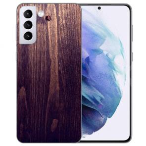 Samsung Galaxy S21 FE Silikon TPU Handy Hülle mit Fotodruck Holzoptik dunkelbraun