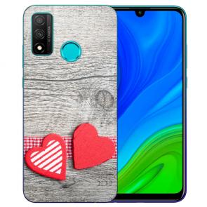 Huawei P Smart 2020 TPU Hülle mit Fotodruck Herzen auf Holz Etui