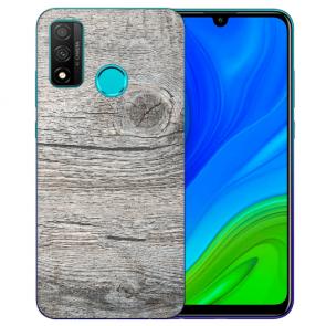 Huawei P Smart 2020 TPU Hülle mit Fotodruck HolzOptik Grau Etui