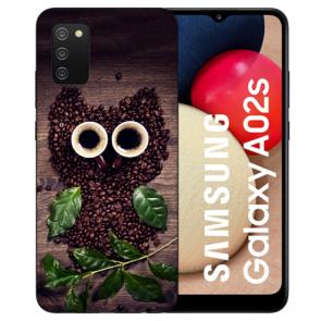 individuelle Schutzhülle mit Foto Bild für Samsung Galaxy A02S Kaffee Eule