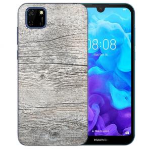 Huawei Y5P (2020) TPU Hülle mit Fotodruck HolzOptik Grau Etui