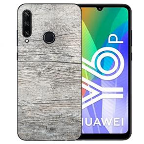Huawei Y6P (2020) TPU Hülle mit Fotodruck HolzOptik Grau Etui