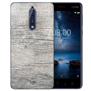 Nokia 8 TPU Hülle mit Fotodruck HolzOptik Grau Etui