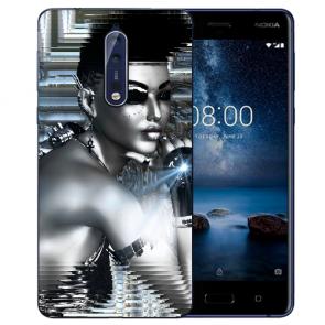 Nokia 8 TPU Hülle mit Fotodruck Robot Girl Etui
