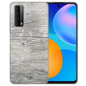 individuelle Schutzhülle mit Foto Bild für Huawei P Smart 2021 mit HolzOptik Grau