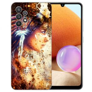 Samsung Galaxy A32 4G Schutzhülle Silikon TPU Fotodruck Indianerin Porträt